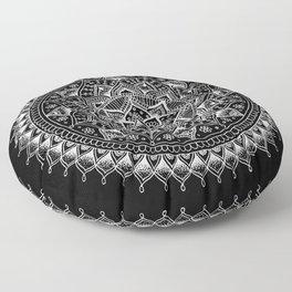 White Flower Mandala on Black Floor Pillow