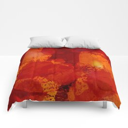 Profondo Rosso Abstract Art Expressionist Comforters
