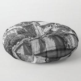 Notre Dame, Paris, France Ile de la Cite black and white photograph / black and white photography Floor Pillow