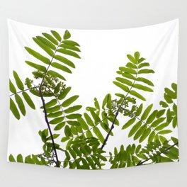 Green Rowan Leaves White Background #decor #society6 #buyart Wall Tapestry