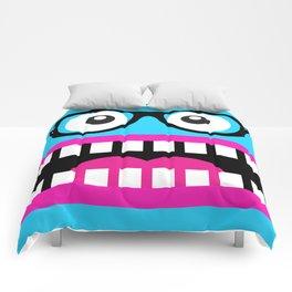 Crazy Blue Nerdy Face Comforters