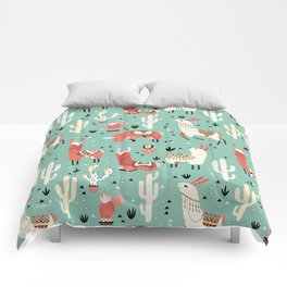 Llamas and cactus in a pot on green Comforters