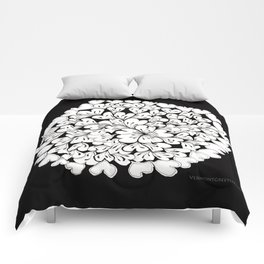 Hearts and Flowers Zentangle black and white illustration Comforters