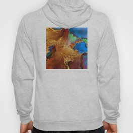 Glitter Gold, Blues, and Eggplant-Brown Paint Textures Hoody