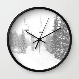 Empty Chairlift // Alone on the Mountain at Copper Whiteout Conditions Foggy Snowfall Wall Clock