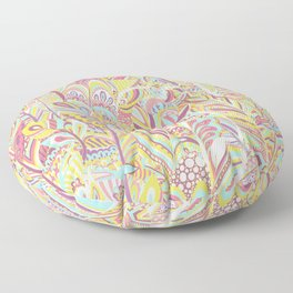 Abstract pink yellow teal hand painted bohemian feathers Floor Pillow