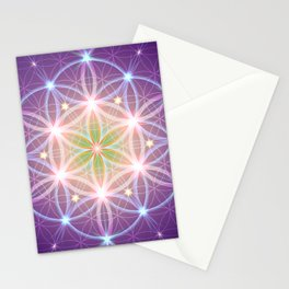 Purple Flower of Life Stationery Cards