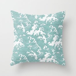 Traditional Hand Drawn Japanese Wave Ink Throw Pillow