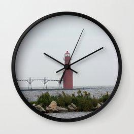 Light House along Lake Michigan Vertical Wall Clock