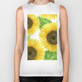 Sunflowers watercolor Biker Tank