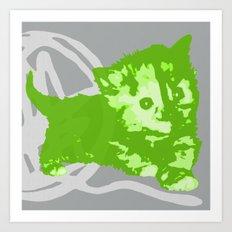 Here Kitty, Kitty - Bright Green/Grey Art Print