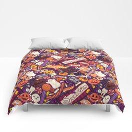 Creepy Halloween Candy on Purple Comforters