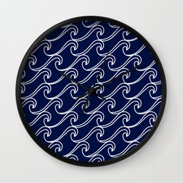 Rough Sea Pattern - white on navy blue Wall Clock