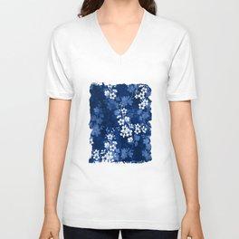 Sakura blossom in deep blue Unisex V-Neck