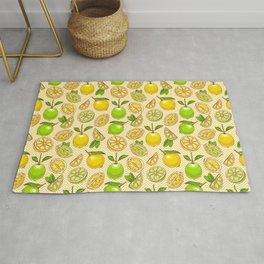 Bright limes and lemons shevron pattern Rug