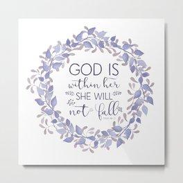 Christian Bible Verse Quote - Psalm 46-5 Metal Print
