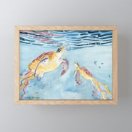 Take A Breath Sea Turtle Framed Mini Art Print