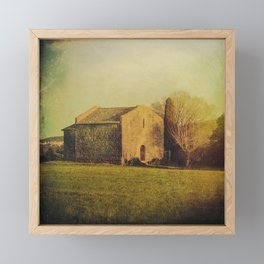 A cute small stone house without windows Framed Mini Art Print