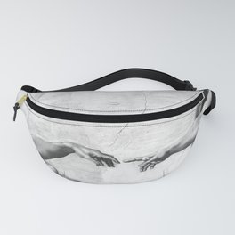 Black and White Creation of Adam Painting by Michelangelo Sistine Chapel Fanny Pack