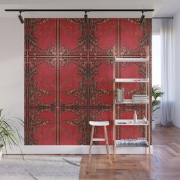 Red and Gold Thistles Wall Mural
