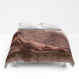 Nude woman watercolor vintage Comforters