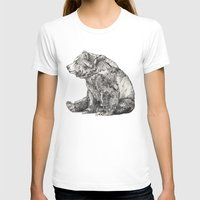 michigan T-shirts featuring Bear // Graphite by Sandra Dieckmann