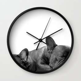 sleeping frenchies b&w Wall Clock