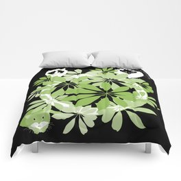 Black, white and green cats Comforters