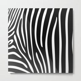 Modern abstract black white zebra animal print Metal Print