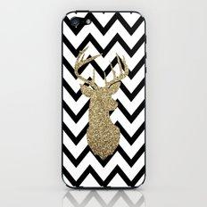 Glitter Deer Silhouette with Chevron iPhone & iPod Skin
