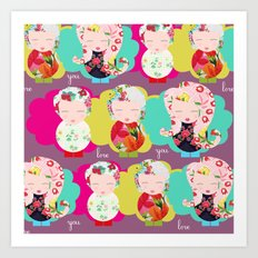Dolls purple Art Print