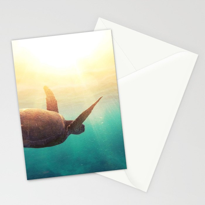 Sea Turtle - Underwater Nature Photography Stationery Cards