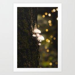 Bokeh Shrooms - Neon by Nature - @zekekitchen Art Print