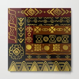 Ethnic African Golden Pattern on black and brown Metal Print