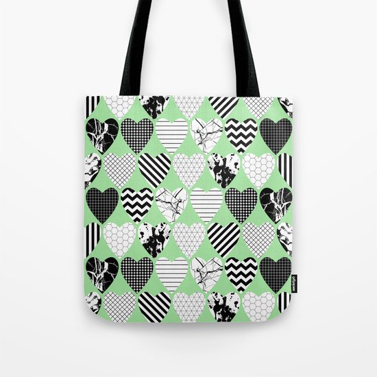 Hearts On Pastel Green - Abstract, black and white, geometric Tote Bag