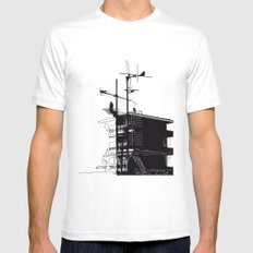French rooftops White MEDIUM Mens Fitted Tee