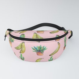 pink bananas and cactus Fanny Pack