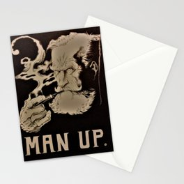 MAN UP B&W Stationery Cards