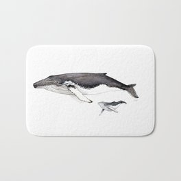 North Atlantic Humpback whale with calf Bath Mat