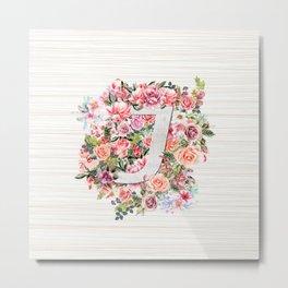 Initial Letter J Watercolor Flower Metal Print