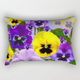 SPRING PURPLE & YELLOW PANSY FLOWERS Rectangular Pillow