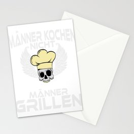 """A Nice Grilling Tee For Griller Saying """"Manner Kochen Nicht Manner Grillen"""" T-shirt Design Barbecue Stationery Cards"""