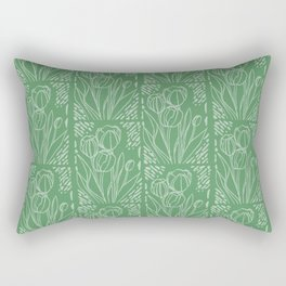Tulip Art Tile - Mint Green Rectangular Pillow