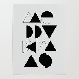 Merry Xmas - Geometric Typo Poster