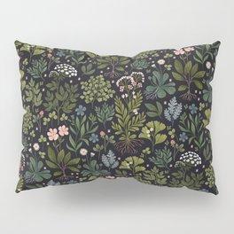 Herbarium ~ vintage inspired botanical art print ~ black Pillow Sham