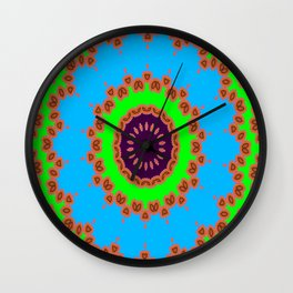 Lovely Healing Mandalas in Brilliant Colors: Royal Blue, Green, Light Blue, Orange, Maroon and Pink Wall Clock