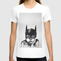 Waiting For a Hero (Bat Boy) White Womens Fitted Tee MEDIUM