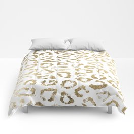 Modern white chic faux gold foil leopard print Comforters