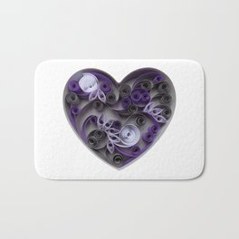 Purple Grey Love Heart Paper Quilled Colorful Heart Wedding Anniversary Gift Bath Mat