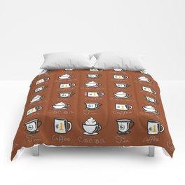Hot Drinks (Brown) Comforters